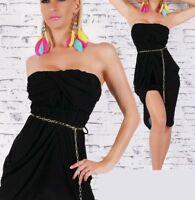 SeXy Miss Damen Chiffon Bandeau Mini Kleid Party Dress Kette Gürtel XS/S schwarz