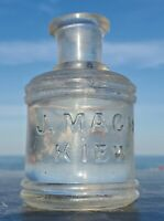"""Antique  Inkwell of the 1800's """"J. MACH KIEW""""Heavy thick glass."""
