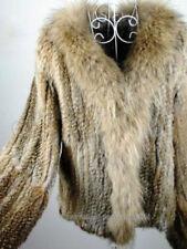 100% Real Knitted Rabbit Fur Coat Outwear Jacket Raccoon Trim Huge Collar Spring