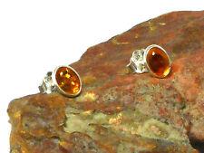 Oval  AMBER   Sterling  Silver  925  Gemstone  Earrings / STUDS  -  6 x 8 mm