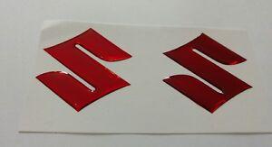 Suzuki Gel domed 3d badge x2 RED MIRRORED CHROME***PAIR