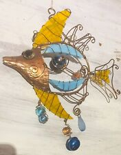 Copper & Glass Window Wall Hanging Decoration Tropical Fish Sun Catcher Crystals