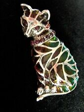 Beautiful Ruby 2 in 1 Cat Brooch and Pendant Sterling Silver Plique a Jour