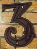 Gußeisen Hausnummer Nummer 3 Nostalgie Zahl Ziffer Lilie Landhaus ca. 8*11cm
