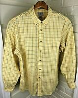 LL Bean Mens Wrinkle Free Trim Fit Shirt Yellow Plaid Button Down Cotton L 33/34