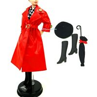 1994 Barbie Pret a Porter Fashion 12162 Red Coat Hat Boots Umbrella