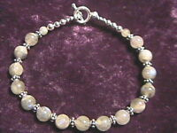 "Labradorite and 925 Sterling Silver Bali Bead Bracelet 7.5"""