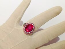 anillo 925 troquelado cóctel estilo joyería cristales rubilite T.58