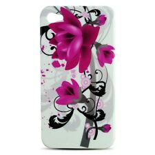 For Apple iPhone 4 4S HARD Protector Case Snap Phone Cover White Purple Flowers