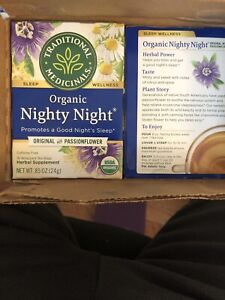 Organic Nighty Night Tea by Traditional Medicinals 6 Boxes 16 Bags Each