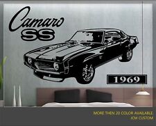 1969 Chevrolet Camaro SS Super Sport Car Removable Wall Vinyl Decal Sticker