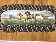 Majestic Western Running Horses Braided Rug Cowboy Galloping Stallions Runner