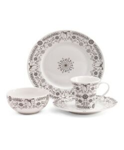 NEW 222 FIFTH Black White Bow Pattern Porcelain 16-piece Dinnerware Plate Set