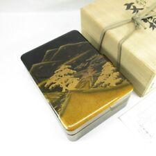 C311 Highest-class Japanese WAJIMA lacquer ware hand box BUNKO w/MAKIE, NASHIJI