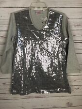 New QUACKER FACTORY  Sz Small Grey Silver SEQUINED V Neck Top LS Blouse Shirt