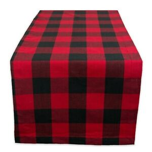 Table Runner Cover Checkered Christmas Party Indoor Outdoor Red Black 14x72 New