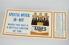 Schöner alter Coca-Cola TAB Coupon USA 1960er - Special Offer! 10c Off