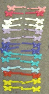 28 Goody Girls Plastic Butterfly Hair Barrettes Secure Pastel Vibrant Colored 09