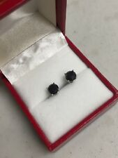 14K WHITE GOLD BLACK ROUND DIAMOND 1.5 TCW STUD  EARRINGS