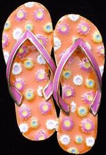 SUMMER FUN ORANGE PINK POLKA DOT BEACH FLIP FLOPS SHOE SHOES PIN BROOCH JEWELRY