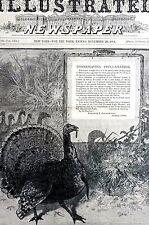 Chester A. Arthur 1884 THANKSGIVING PROCLAMATION VETERAN GOBBLER TURKEY Print