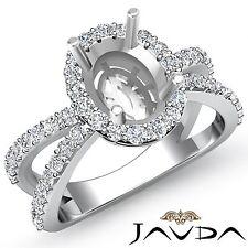 Semi Mount Split Shank Oval Diamond Engagement Halo Ring 14k White Gold 0.75Ct