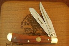 SCHRADE MADE IN USA WOOD NORTH AMERICAN HUNTING CLUB TRAPPER KNIFE NICE (2384)