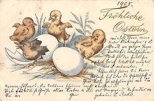 Kücken mit Baby - Ente Ostern Postkarte 1905