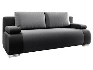 Schlafsofa NOEL Schwarz Polstersofa Couch Schlafunktion Bettkasten Wohnzimmer