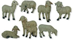 Krippenfiguren Set KrippenzubehörTierset Schafe 7 teilig f.Figuren v.10-12 cm