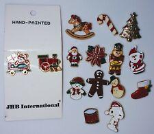 "Christmas Buttons Lot of 15 Enamel BUTTONS 1/2"" - 1"" Snoopy Santa Snowman Train"