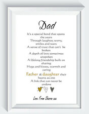 Personalised Dad Fathers Day Gift Birthday From Daughter Poem Print ONLY