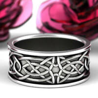 Vintage 925 Silver Celtic Knot Wedding Ring Men Women's Engagement Band Jewelry