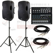 """Gemini AS-15P 15"""" Powered Speaker Pair + Stands + Mackie Mix12 PA System Pack"""