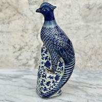 Vintage Large Chinese Cobalt Blue & White Pheasant Figure Table Top Statue