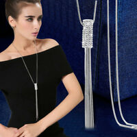 Women Full Cubic Zircon Cylinder Pendant Long Tassel Sweater Chain Necklace Gift