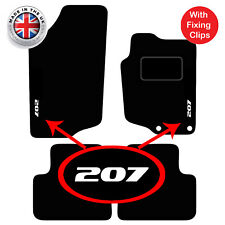Peugeot 207 Tailored Black Car Floor Mats Carpets 4pc Set With Clips