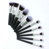 New 10Pcs KABUKI Style Pro Cosmetic Makeup Foundation Brush Set Xmas Cosmetic-UK