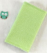 Handcrafted, Flannel Green Polka Dot Print & White Minky Bubble Baby Burp Cloth