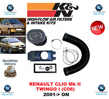FOR RENAULT CLIO Mk II TWINGO I C06 K&N INDUCTION KIT 2001-> ON ORIGINAL K&N