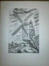 Gravure moulin a vent par P. Valade Nord Moulin Blavoet au mont Cassel aux chats