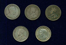 CANADA 25 CENTS SILVER COINS: 1910, 1912, 1913, 1929, & 1937, GROUP LOT OF (5)