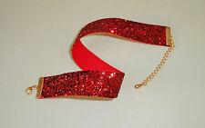 Glitzer-Halsband / Choker - rot , breit , Halsband-Trachten.
