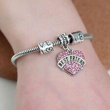 Bracelets Pink Crystal Heart DIY Charm Best Friends Bracelet