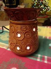 Scentsy Lisbon Swirl Full Sized Round Scented Wax Warmer Gold / Brown
