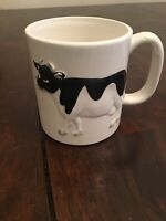 OTAGIRI Ceramic Black White Cow Embossed Coffee Tea Mug Cup Japan