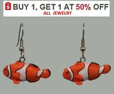 CLOWN FISH Earrings 3D Colorful Charm Dangle Stainless Hook NEMO Aquarium CUTE!