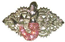 Vintage Art Deco Nouveau Pink Mermaid Crystal Rhinestone Hair Barrette Clip Gift