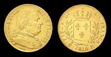 COPIE - Pièce plaquée OR sous capsule (GOLD Plated) Louis XVIII 20 Francs 1815 R