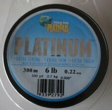 Platypus Platinum mono Fishing Line 6lb grey 330yds.22mm blue. tackle B6593F